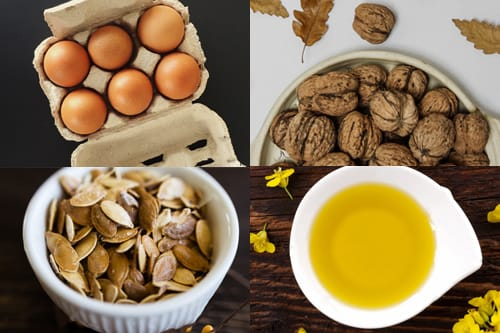 Eggs, walnuts, pumpkin seeds and canola oil are great sources of omega 3 fatty acids.